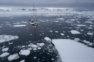 Sailing yacht in the ice, Antarctic Peninsula